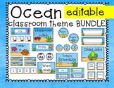 Ocean Theme Classroom Decor - Editable! Calendar, Schedule