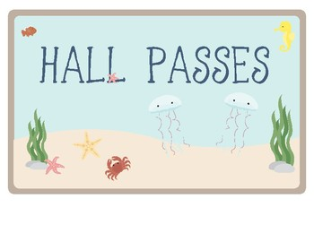Ocean Theme - Classroom Decor - Hall Pass