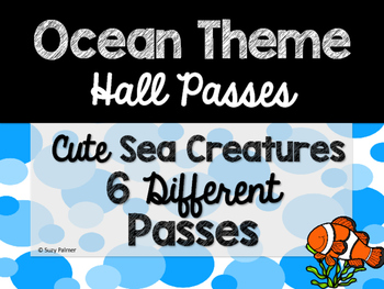 Ocean Theme Classroom Decor: Hall Passes