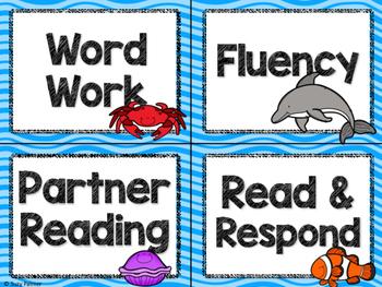 Ocean Theme Classroom Decor: Literacy Center Labels