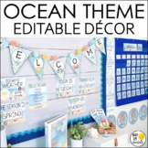 Ocean Theme Classroom Decor Bundle- Editable! Word Wall, B