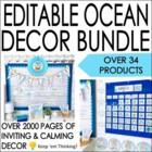 Ocean Theme Classroom Decor Bundle- Editable! Word Wall, Banners, Charts & More