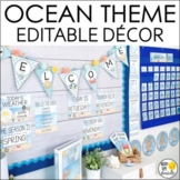 Ocean Theme Classroom Decor Bundle- Editable! Word Wall, Banners, Charts & More