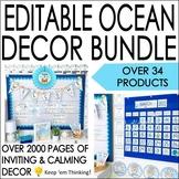 Ocean Theme Classroom Decor Bundle- Editable! Word Wall, B