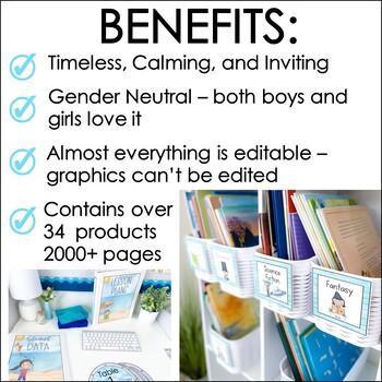 Ocean Theme Classroom Decor Bundle- Editable Classroom Themes Decor Bundle
