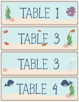 Ocean Theme - Classroom Decor - Name Tags & Table Labels