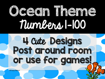 Ocean Theme Classroom Decor: Numbers 1-100