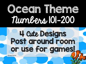 Ocean Theme Classroom Decor: Numbers 101-200