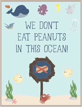 Ocean Theme - Classroom Decor - Peanut Allergy Poster FREE