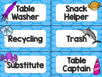 Ocean Theme Classroom Decor: Student Jobs
