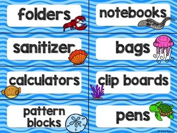 Ocean Theme Classroom Decor: Supply Labels