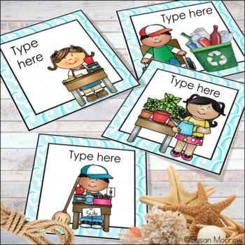 Ocean Theme Classroom Helpers Job Cards Editable! - Ocean Theme Classroom Decor