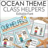 Ocean Theme Classroom Helpers Job Cards Editable! - Ocean