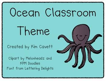 Ocean Theme Classroom Materials
