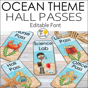 Ocean Theme Classroom Hall Passes - Editable! Ocean Theme Decor