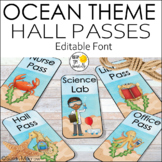 Ocean Theme Classroom Hall Passes - Editable! Ocean Theme Decor