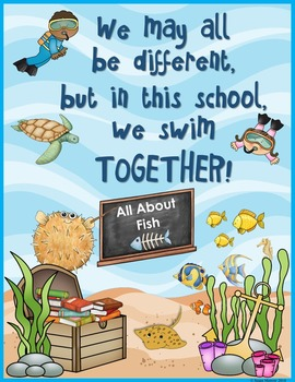 Ocean Theme Classroom Poster and Note Cards Freebie!