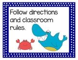 Ocean Theme Classroom Rules