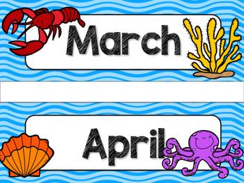Ocean Theme Classroom Decor: Calendar Headers