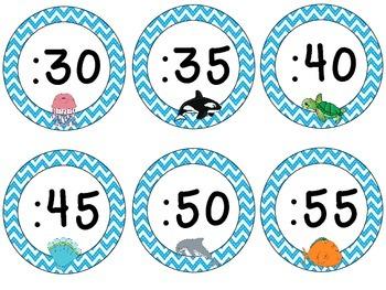 Ocean Theme Clock Tags & Labels