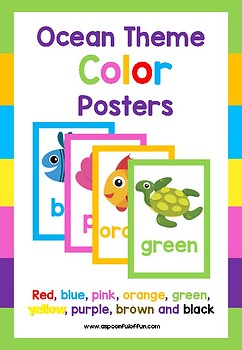 Ocean Theme Color Word Posters Set