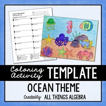 Coloring Activity Template: Ocean Theme (Personal Use Only)