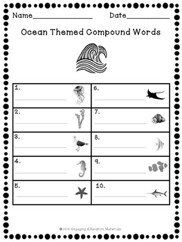Ocean Theme Compound Words