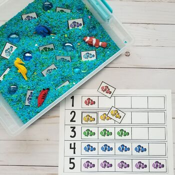 Colorful Rainbow Fish Counting Frame (#'s 1 - 5) ~ Number Recognition, Counting