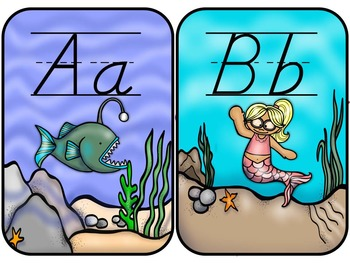 Ocean Theme D'Nealian Alphabet Line
