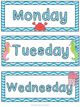 Ocean Theme Days of the Week