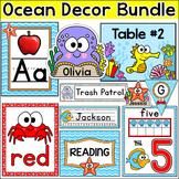 Ocean Theme Classroom Decor Bundle: Teacher's Binder, Name Tags, Classroom Jobs