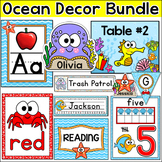 Ocean Theme Decor Bundle: Name Tags, Classroom Job, Centers Signs, Binder Covers