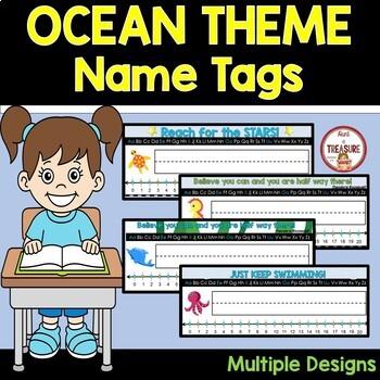 Ocean Theme Classroom Decor Desk Name Tags