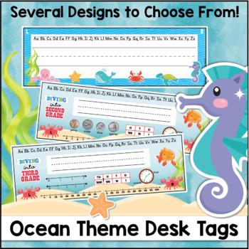 Ocean Theme Desk Name Tags Editable