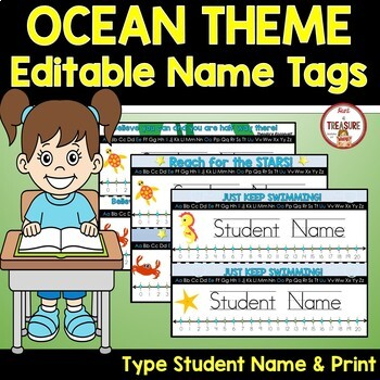 Name Tags Editable (Type Student Name and Print) Under the Sea Ocean Theme