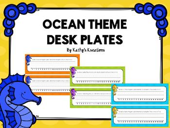 Ocean Theme Desk Plates - Editable
