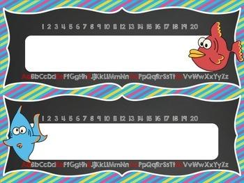 Ocean Theme Deskplate Nametags - editable!