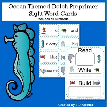 Ocean Theme Dolch Preprimer Sight Words