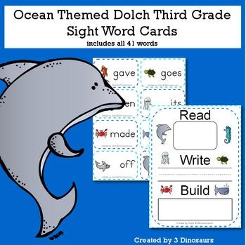 Ocean Theme Dolch Third Grade Sight Words