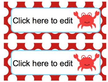 Ocean Theme EDITABLE Nametags {Classroom Decor}