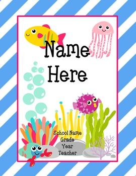 Ocean Theme Editable Homework Folder Cover