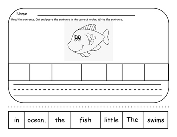 Ocean Theme Grammar and Writing Pages