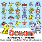 Ocean Theme Attendance with Optional Lunch Count for All Interactive Whiteboards