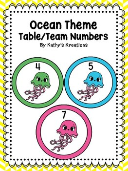 Ocean Theme/Jellyfish Table Numbers 1-8