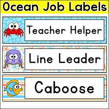 Classroom Jobs - Ocean Theme Decor