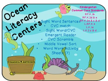 Ocean Theme Literacy Pack (Common Core Aligned K-1)