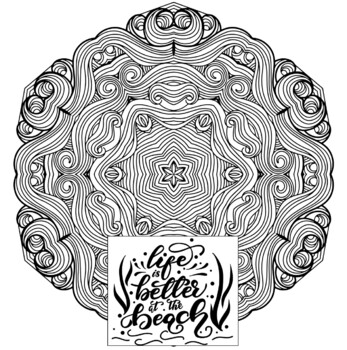 Ocean Theme Mandala and Zentangle Designs Coloring Book