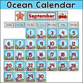 Ocean Theme Monthly Calendar Set - Under the Sea Classroom Decor