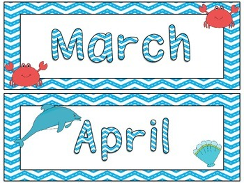 Ocean Theme Months of the Year Signs