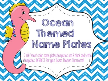 Ocean Theme Name Plate Templates